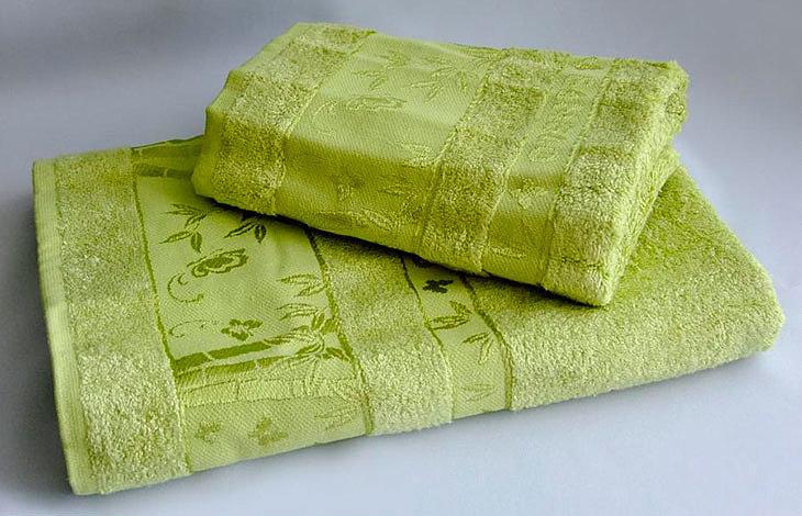 Полотенце, сделанное из бамбукового волокна, часто имеет рисунок бамбука на себе